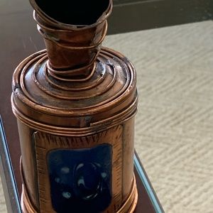 Single rose hand painted copper vase